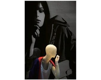 Fashion photography, black and white, dummy, manikin, fashion shop window, Italian fashion, Florence, Fine Art photography.