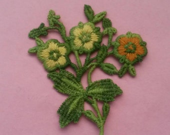 1 Green Cream and Orange Large Flower Applique Sew On Flower Patch
