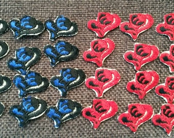 10 Pieces Small RED BLUE Valentine Heart Flower Applique Flower Patch Sew On