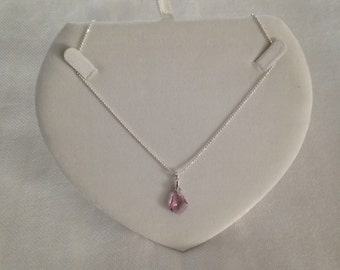 silver chain 925 Silver lilac glass pendant with
