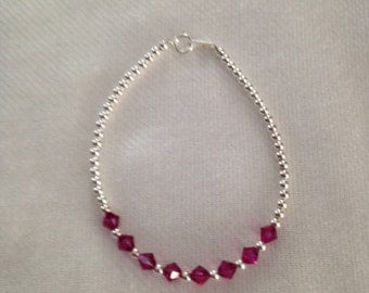 bracelet in Silver 925 with color ruby glass stones