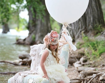 Boutique cream flower rosette dress with matching headband-flower girl-wedding-photo prop-birthday-cake smash-vintage-children clothing