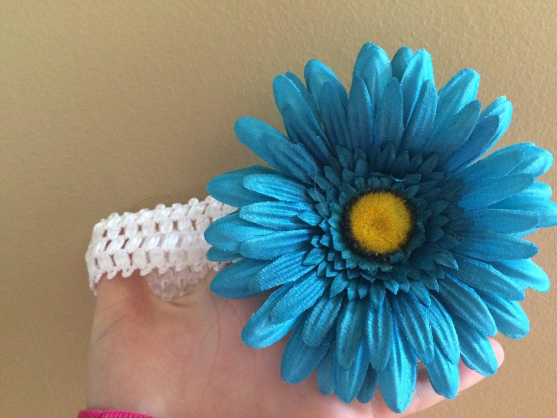 White And Blue Flower Headband By Turtletreelane On Etsy