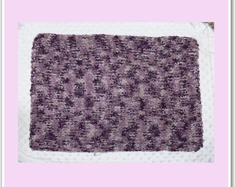 Newborn Baby Knitted Multicoloured Burgundy/Pale Pink Layer Blanket 55x40cm