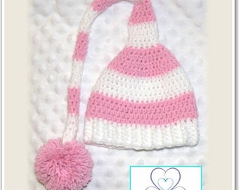 Newborn Baby Crocheted Pink/White Stocking Hat with Pompom
