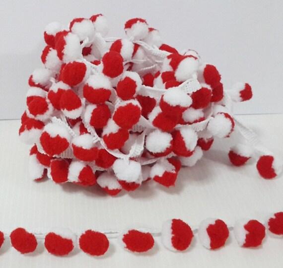 4 Yards red white Large Pom Pom Trim pom pom trim Trim Lot