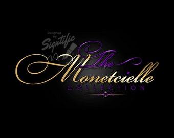Logo design - Couture logo - Fashion logo - Gold and purple logo - OOAK clothing logo - Business logo - Name brand logo - Custom logo