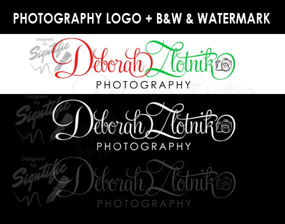 Photography logo, free watermark and a black and white version, photographer logo, photograph watermark, camera logo custom design