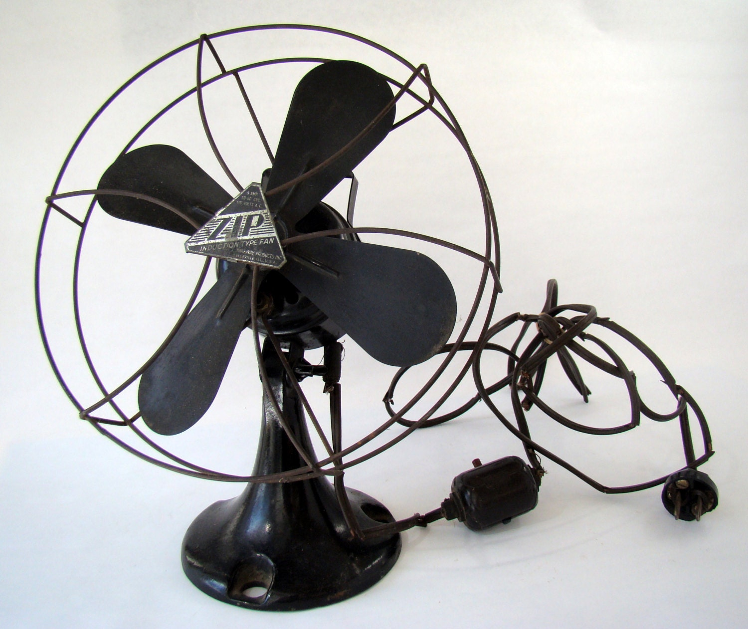 Vintage Fan With Wire Cage And Cast Iron Base