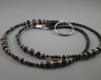 "Unique breakaway lanyard necklace with bead chain 32"" to 38"" long beaded ID badge holder , keychain or key card holder ,eyeglasses strap"
