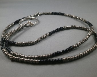 "grey and black key or ID lanyard silver and black 26"" to 42 ""plus attachment.your chioce of attachment: eyeglass, key or ID holder"