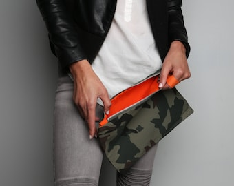 Mini G+I Jane Camo army green pouch+Olive green clutch+bright red interior+orange interior+camouflage+wristlet