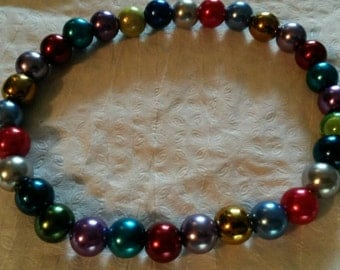 Handmade Multi-coloured Pearly Glass Bead Bracelet