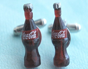 soda bottles cuff links- miniature food, tie tacks