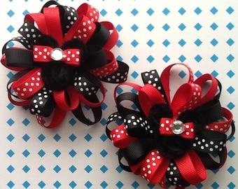 FREE SHIPPING/ 2 Minnie Loopy Flower Hair Bow Round Loopy Hair Bow.