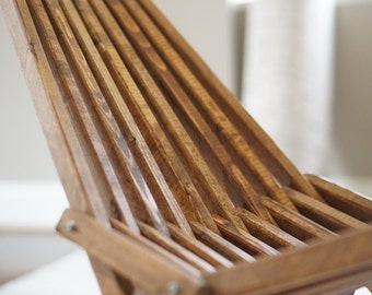 Kentucky Stick Chair, Dark Walnut Finish, Outdoor Furniture, Folding Patio Chair, Deck Furniture, Belize Chair,  Camping, Beach, Lawn, Porch