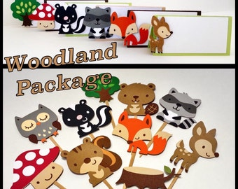Woodland Theme Party Package - Woodland Party Decorations - Woodland Tent Cards - Woodland Cupcake Toppers - Woodland Baby Shower