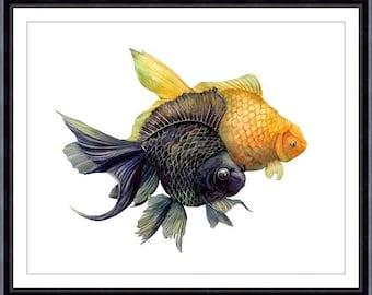 Goldfish Print, Watercolor Goldfish Painting,Fish Art Print  - Goldfish  Print, Fish Print, Fish 032