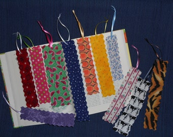 FREE Shipping on Lot of 11 Fabric or Cloth Bookmarks Multi Color and Size