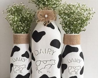 Cow Milk Bottles Kitchen Decor Farm Theme Party