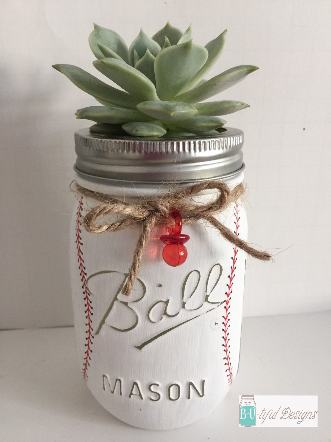 baseball mason jar baby shower centerpiece or nursery decor