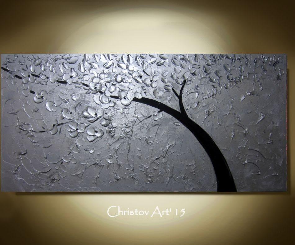 Sale large metallic silver painting wall art silver tree - Silver metallic wall paint ...