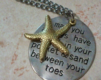 Starfish charm necklace, sand between your toes... Word charm necklace, shell in your pocket charm necklace