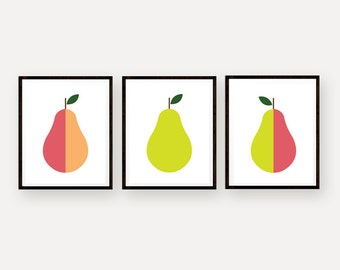 Pear Art Prints Set of 3 Kitchen Art Scandinavian Design Pop Art Pear Retro Home Decor Mid Century Modern