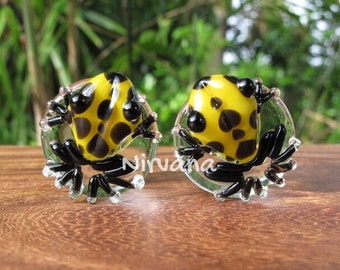 """Yellow & Black Spotted Poison Tree Frog Glass Plugs 00g 7/16"""" 1/2"""" 9/16"""" 5/8"""" 3/4"""" 1"""" 9.5 mm 10 mm 12 mm 14 mm 16 mm 18 mm 20 mm 22 mm 25 mm"""