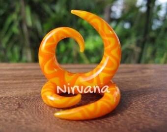 """Orange & Yellow Snake Spirals Glass 10g 8g 6g 4g 2g 0g 00g 7/16"""" 1/2"""" 9/16"""" 5/8"""" 2.5 mm 3 mm 4 mm 5 mm 6 mm 8 mm 10 mm 12 mm 14 - 16 mm"""