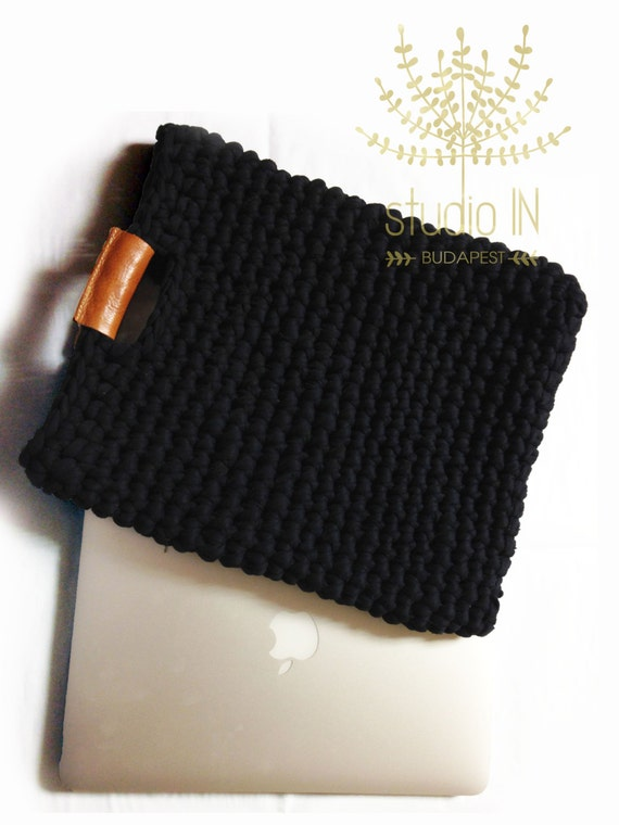 Leather Crochet Bag : bag with real leather handles, crochet laptop case, trendy crochet bag ...