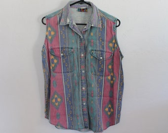 Faded Southwest Native Tribal Sleeveless Button Shirt Womens Large