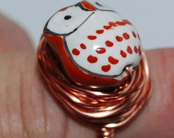 Adorable, porcelain hand painted Owl, Wire Wrapped Ring, Copper Wire