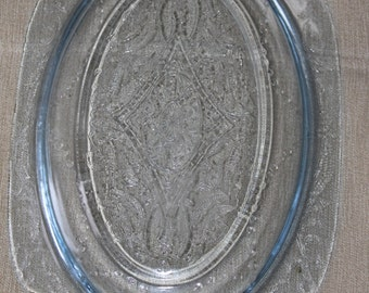Vintage Blue Tinted Glass, Very Heavy, Home Decoration, Collectible Beautiful Design on it Blue Rings in it