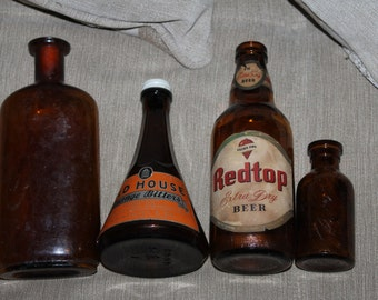 NEW PRICE Amber Brown Bottles Old House Orange Bitters Redtop Extra Dry Beer - Lysol - Medicine - Opothecary - Alcohol - Bottles Jars