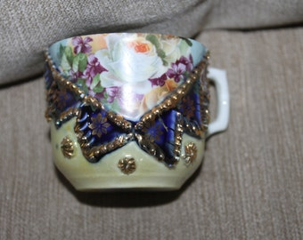 Made in Germany, Child's Tea Cup w  Appliqués, Hand Painted, Hand Decorated, Colorful, Beautiful, Very Collectible, Home Decoration, Vintage