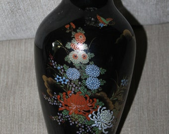 Vintage Black Vase With Gold Trim on Top & Bottom, Vase is Hand Painted, Asian Flowers, Brilliant Colors, Home Decoration, Very Collectible