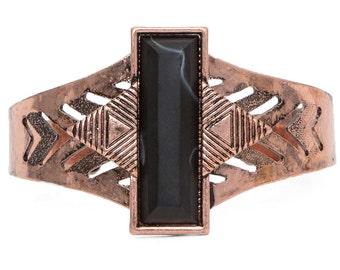 Stone cuff bracelet, silver or bronze bracelet cuff, boho bracelet cuff, metal cuff bracelet cuff, black stone bracelet, Mother's Day gift.