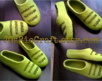 Kiwi felted wool slippers
