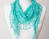 Lace Scarf Mint Scarf Lace Fringe Scarf Triangle Scarf Fringe Shawl Lace Headband Fashion Accessory Summer Scarf Mother's Day Gifts