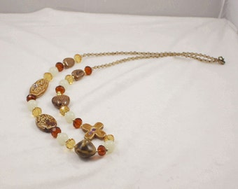 Free shipping,brown stone long necklace,crystal,glass beads,vintage,bangle,personalized,wholesale(XL81)