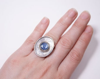 Eldath- handcrafted adjustable fine and sterling silver ring with blue kyanite cabochon, silversmiths