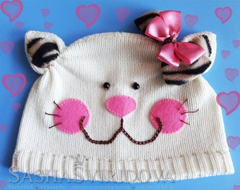 knitted kitten hat