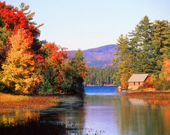 Cabin by the Lake Fine Art Photography Wall Photo Print, Autumn Fall Red Leaves Green Trees Blue Water Cabin Pond Swimming Camping Forest