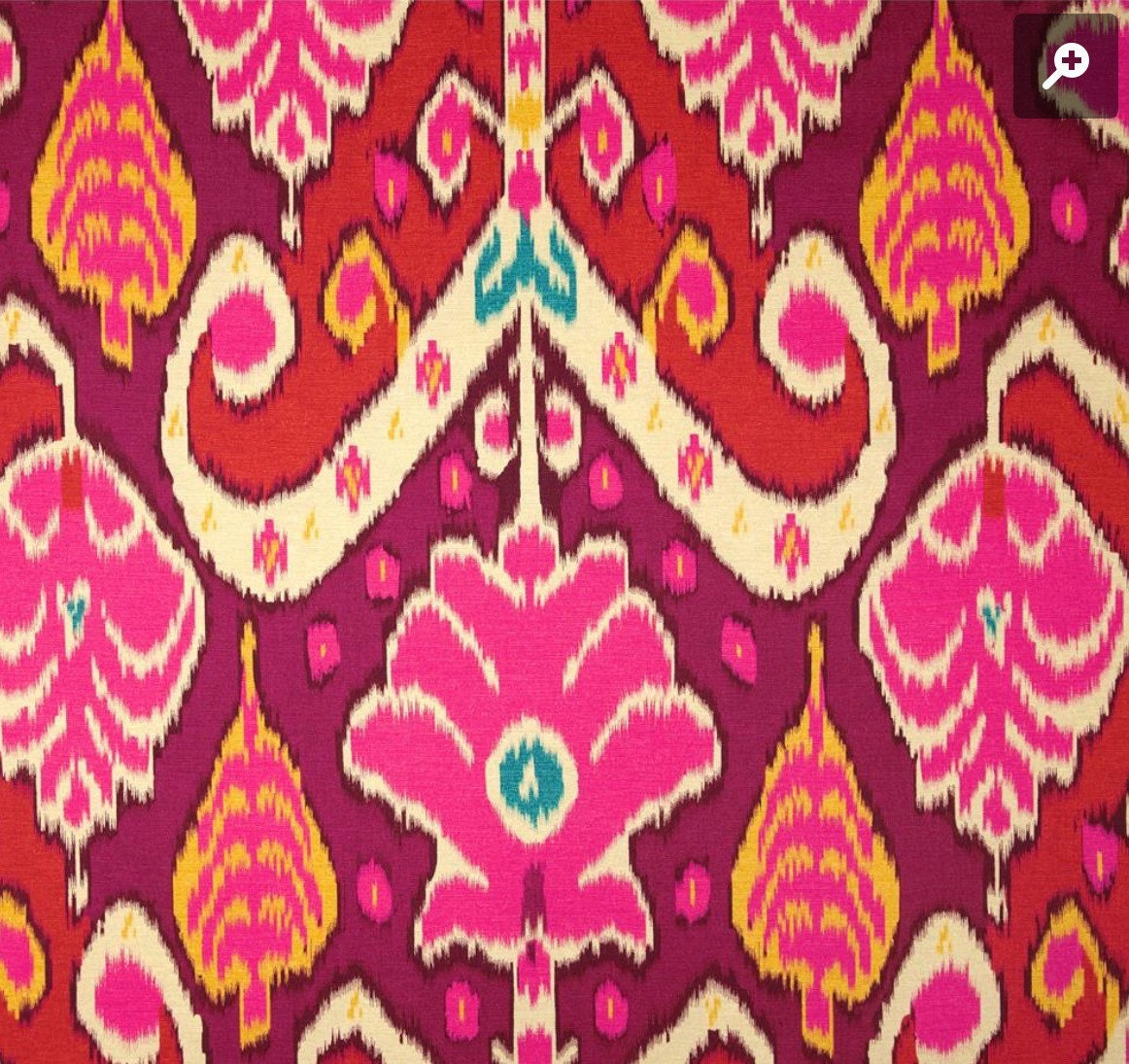 Red Ikat Pillow Cover Hot Pink Marsala Turquoise Yellow