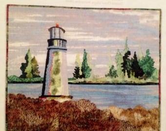 Art Quilt Pattern POINT BEACON designed by Grace Errea - Lighthouse landscape
