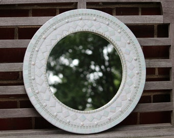 Round Mosaic Mirror - White on White