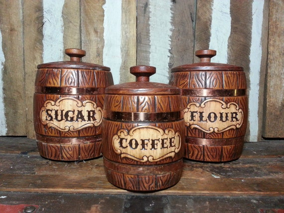 Vintage Set Of 3 Treasure Craft Whiskey Barrel Wood Design Kitchen Decor Ceramic Sugar Flour Coffee