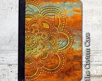 Mandala Ipad Case, Mandala on Turquoise + Rust Ipad Case, Geometric Ipad Cover, Ipad 2/3/4 Case, Ipad Air Case, Ipad Mini Case