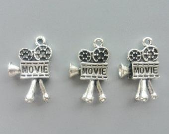 Vintage Camera Charms Movie Vidicon Pendants Antique Tibetan Silver Tone Metal 3D Camera Pendants Jewelry Accessory 10*15*26mm 514